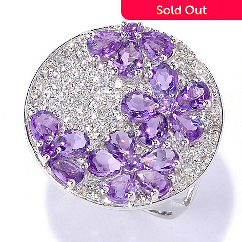 127-632 - Gem Insider Sterling Silver 2.50ctw White Topaz & Amethyst Flower Circle Ring