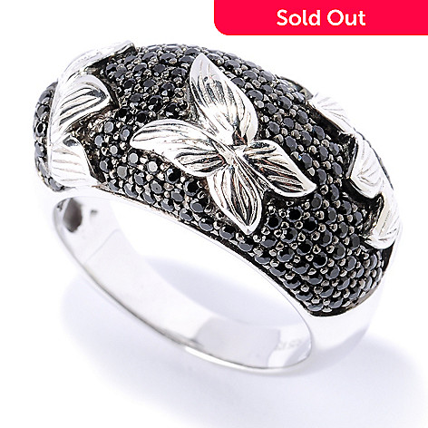 127-636 - Gem Treasures Sterling Silver 1.21ctw Black Spinel Sunflower Ring