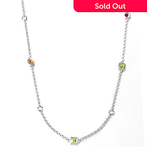 127-637 - Gem Insider™ Sterling Silver 32'' 3.86ctw Multi Gemstone Station Necklace