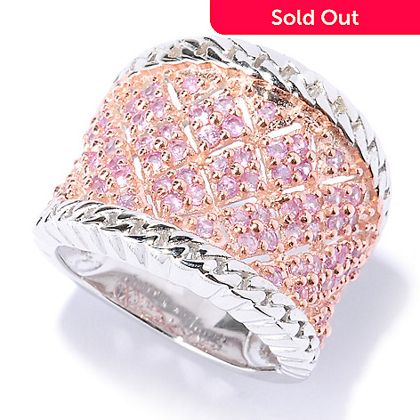 127-642 - Gem Insider® Sterling Silver 1.17ctw Pink Sapphire Wide Band Ring