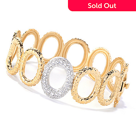 127-645 - Sonia Bitton Two-tone 2.24 DEW Textured Pave Set Simulated Diamond Hinged Bracelet