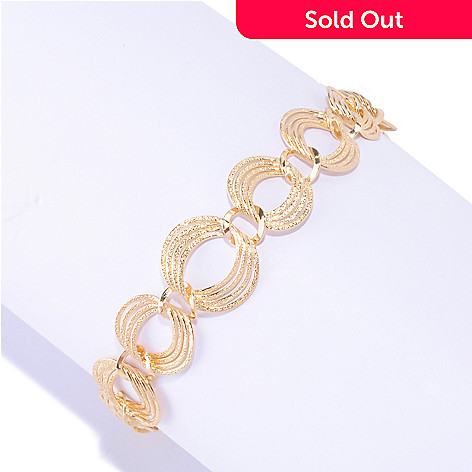 127-651 - Portofino Gold Embraced™ Textured & Graduated Circle Link Bracelet