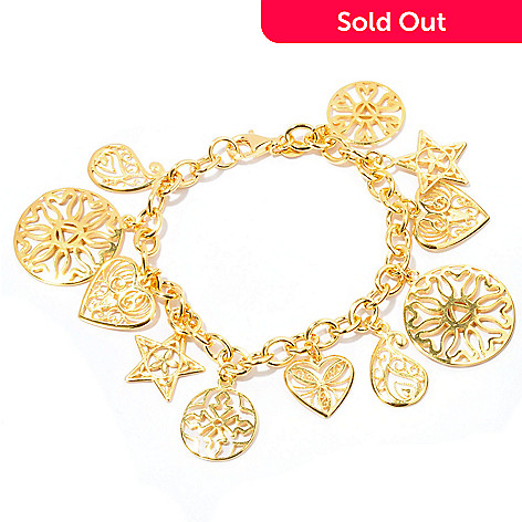 127-657 - Portofino 18K Gold Embraced™ Filigreed Multi Charm Bracelet