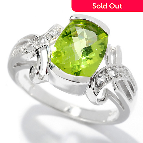 127-667 - Gem Insider Sterling Silver 2.00ctw Cushion Shaped Peridot & White Topaz Ring