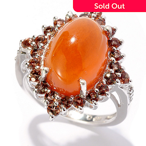 127-671 - Gem Insider™ Sterling Silver 14 x 10mm Aragonite, Andalusite & White Topaz Ring