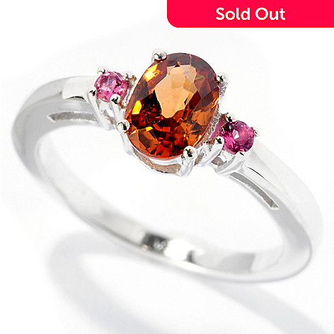 127-673 - Gem Insider™ Sterling Silver 1.04ctw Brown Zircon & Pink Tourmaline Ring