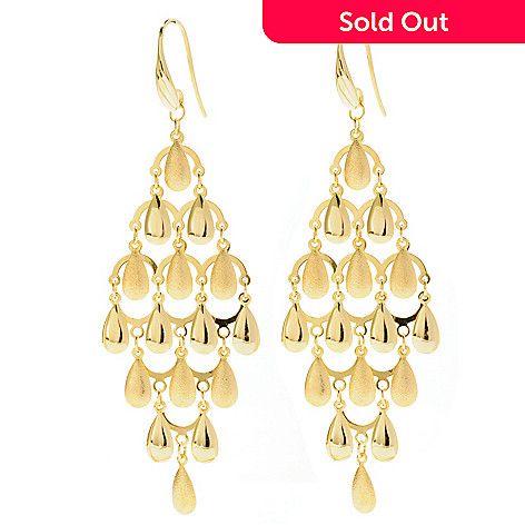127-674 - Portofino Gold Embraced™ Textured Chandelier Earrings