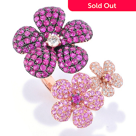 127-675 - EFFY 14K Rose Gold 3.32ctw Ruby, Sapphire & Diamond Three-Flower Ring