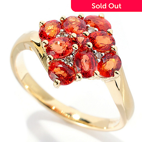 127-676 - Gem Treasures 14K Gold 1.77ctw Orange Sapphire & Diamond Ring