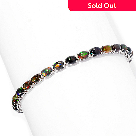 127-677 - Gem Treasures Sterling Silver 6 x 4mm Oval Smoked Black Opal Bracelet