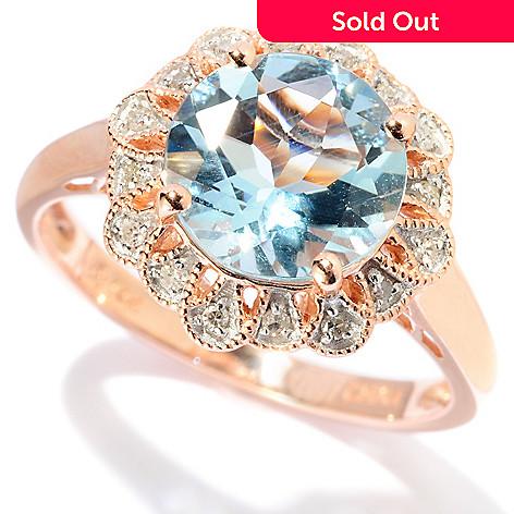127-678 - Gem Treasures® 14K Rose Gold 1.96ctw Round Aquamarine & Diamond Ring