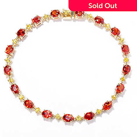 127-679 - Gem Treasures 14K Gold 7.25'' 11.20ctw Orange & Yellow Sapphire Bracelet