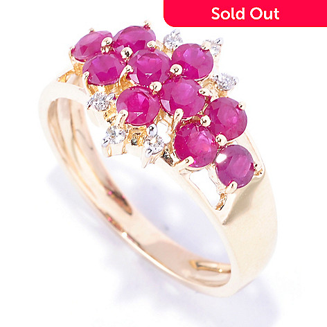 127-680 - Gem Treasures® 14K Gold 1.03ctw Ruby & Diamond Band Ring