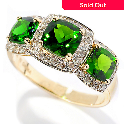 127-681 - Gem Treasures® 14K Gold 2.67ctw Cushion Shaped Chrome Diopside & Diamond Ring