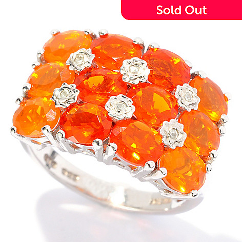 127-683 - NYC II 2.31ctw Fire Opal & White Zircon Gradated Line Ring
