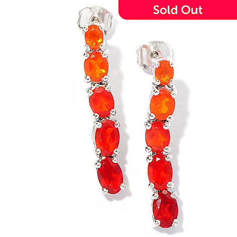 127-685 - NYC II® 1'' 1.74ctw Graduated Fire Opal Line Drop Earrings