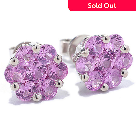 127-686 - Gem Treasures® Sterling Silver Fancy Sapphire Flower Cluster Earrings