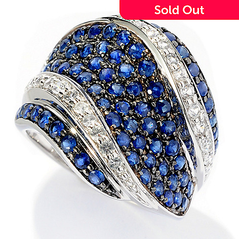 127-687 - Gem Treasures® Sterling Silver 2.36ctw White & Fancy Sapphire Concave Wave Ring