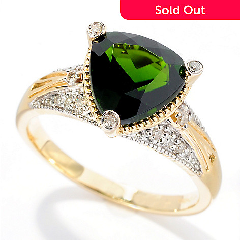 127-688 - Gem Treasures 14K Gold 2.59ctw Trillion Shaped Chrome Diopside & Diamond Ring