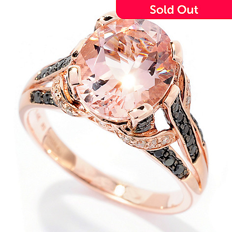 127-689 - Gem Treasures® 14K Rose Gold 3.29ctw Oval Pink Morganite, Black & White Diamond Ring