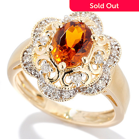 127-690 - Gem Treasures® 14K Gold 1.51ctw Oval Tourmaline & Diamond Ring