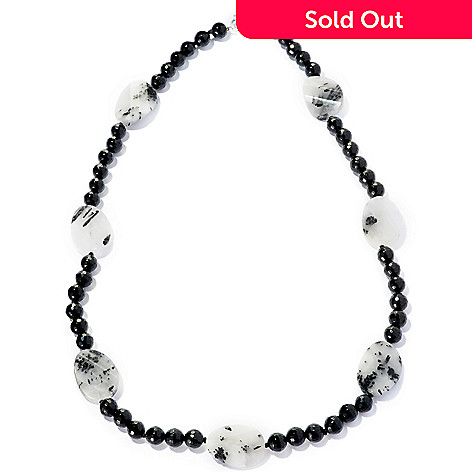 127-704 - Gem Treasures® Sterling Silver 24'' Oval Rutilated Quartz & Onyx Bead Necklace