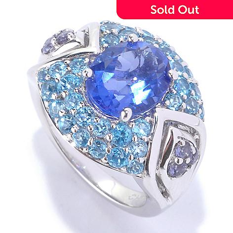 127-705 - Gem Insider® Sterling Silver 4.12ctw Color Shift Fluorite & Multi Gem Ring