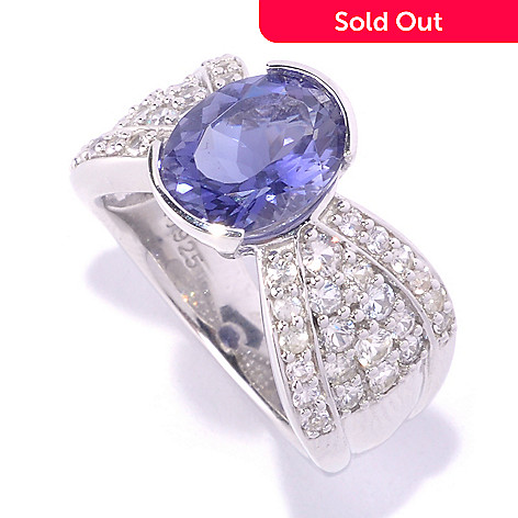 127-708 - Gem Insider Sterling Silver 10 x 8mm Oval Iolite & White Sapphire Ring