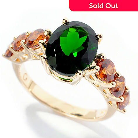 127-709 - Gem Treasures 14K Gold 4.41ctw Oval Chrome Diopside & Brown Zircon Ring