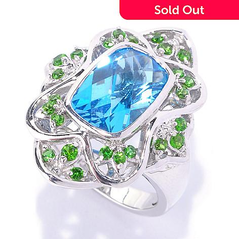 127-710 - Gem Insider Sterling Silver 4.11ctw  Swiss Blue Topaz & Chrome Diopside Ring
