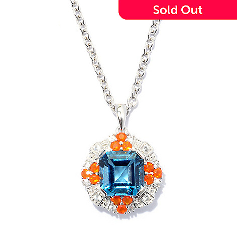 127-711 - Gem Insider™ Sterling Silver 3.01ctw London Blue Topaz & Multi Gem Pendant w/ Chain