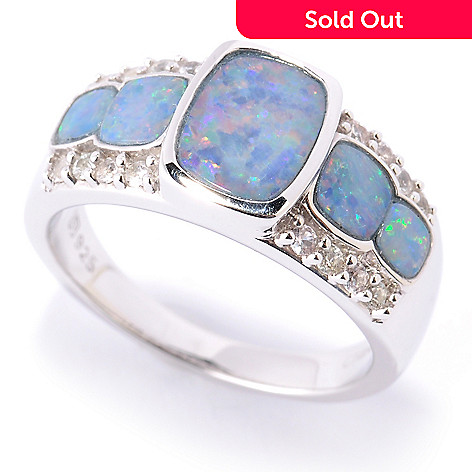 127-715 - Gem Insider™ Sterling Silver 8 x 6mm Opal Doublet & White Sapphire Ring