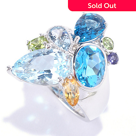127-720 - Gem Insider Sterling Silver 6.68ctw Multi-Shaped Gemstone North-South Ring