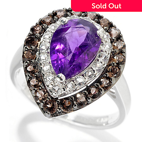 127-722 - Gem Insider Sterling Silver 2.12ctw Amethyst, Smoky Quartz & White Topaz Ring