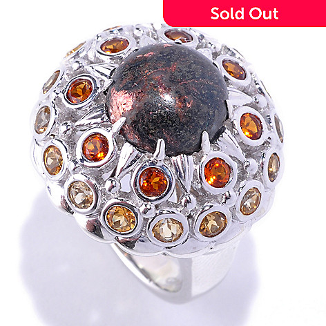 127-723 - Gem Insider Sterling Silver 10mm Copper Ore & Citrine Dome Ring