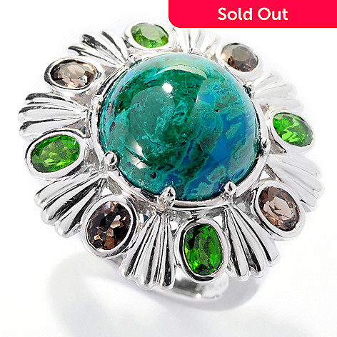 127-725 - Gem Insider Sterling Silver 12mm Chrysocolla, Smoky Quartz & Chrome Diopside Ring