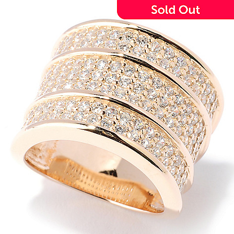 127-727 - Sonia Bitton Gold Embraced™ 1.79 DEW Three-Row Simulated Diamond Wide Band Ring