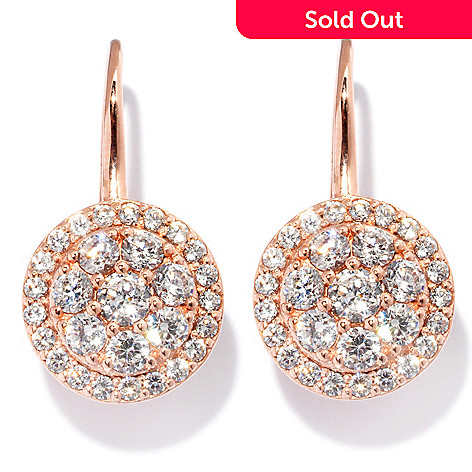 127-730 - Sonia Bitton 1'' 2.09 DEW Round Cut Simulated Diamond Circle Drop Earrings