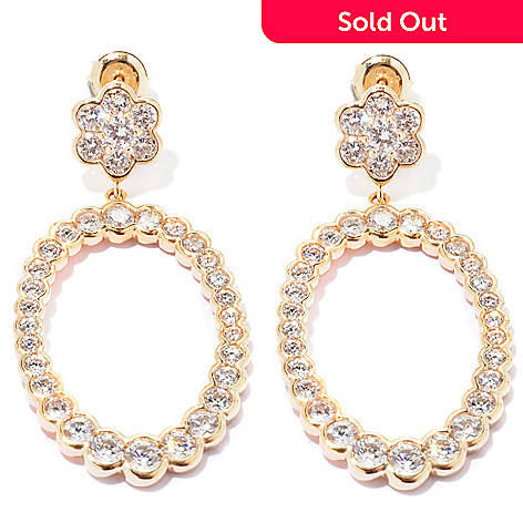 127-733 - Sonia Bitton for Brilliante® 4.90 DEW Semi-Bezel Oval Flower Earrings