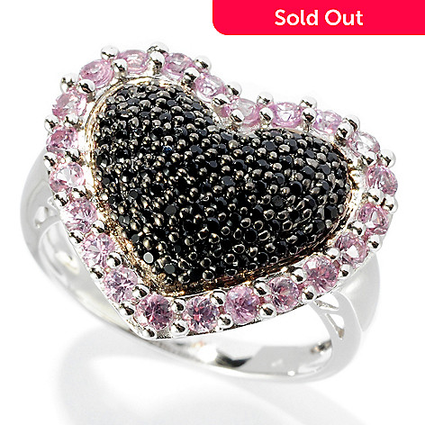 127-736 - Gem Treasures Sterling Silver 1.09ctw Spinel & Pink sapphire Heart Shaped Ring