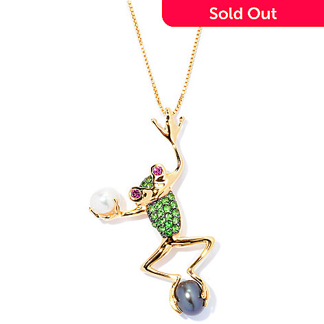 127-740 - NYC II™ Dyed Freshwater Cultured Pearl & Multi Gemstone Frog Pendant