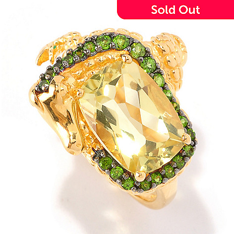 127-741 - NYC II 5.79ctw Ouro Verde & Chrome Diopside Alligator Ring