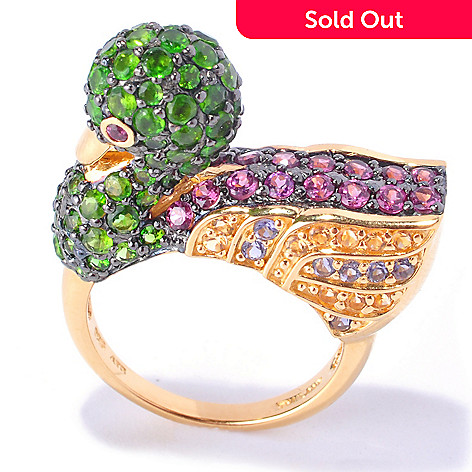 127-747 - NYC II™ 3.80ctw Chrome Diopside & Multi Gemstone Duck Ring