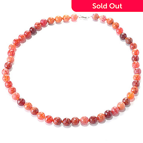 127-753 - Gem Insider® Sterling Silver 26'' Fire Agate Bead Necklace