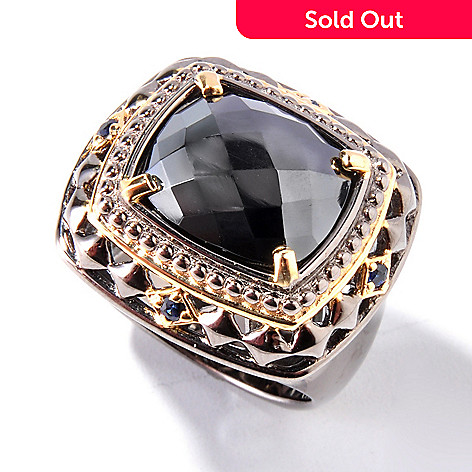 127-765 - Men's en Vogue 14 x 12mm Rose Cut Hematite & Sapphire Ring