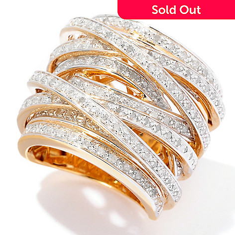 127-766 - Diamond Treasures® 1.00ctw Diamond Crisscross Ring