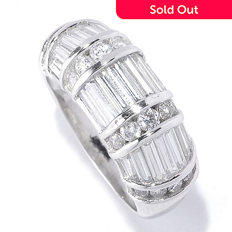 127-769 - Brilliante® Platinum Embraced™ 2.97 DEW Baguette Cut Simulated Diamond Dome Ring