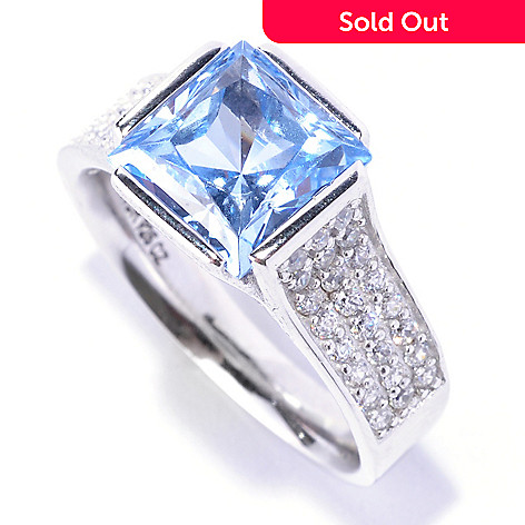 127-772 - Brilliante® Platinum Embraced™ 3.49 DEW Tension Set Blue Simulated Diamond Ring