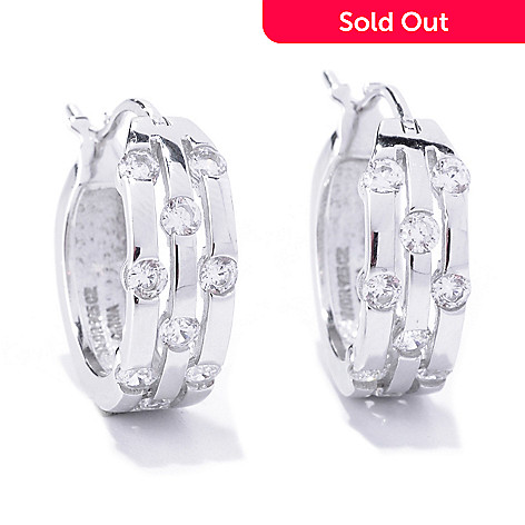 127-777 - Brilliante® Platinum Embraced™ Round Cut Simulated Diamond Hoop Earrings