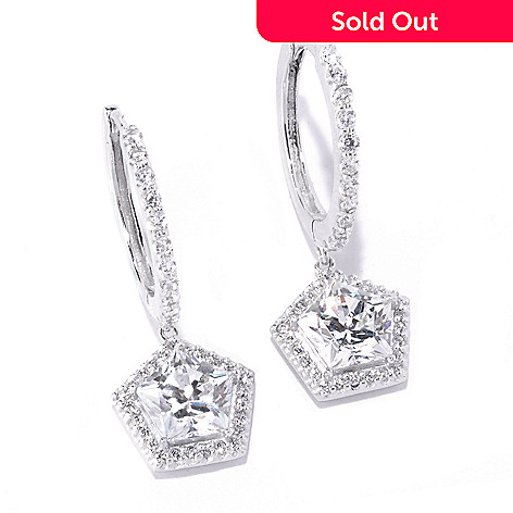 127-778 - Brilliante® Platinum Embraced™ 6.98 DEW Simulated Diamond Halo Drop Earrings